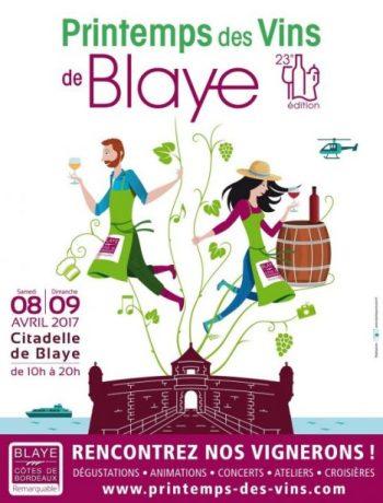 L'événement oenotouristique « Le Printemps des vins de Blaye - Côtes de Bordeaux » revient les samedi 8 et dimanche 9 avril 2017 au cœur de la Citadelle de Blaye pour une 23e édition. L'occasion pour tous de découvrir la diversité des vins de 80 vignerons de Blaye-Côtes de Bordeaux, et de profiter d'une multitude d'animations, dans un esprit festif !