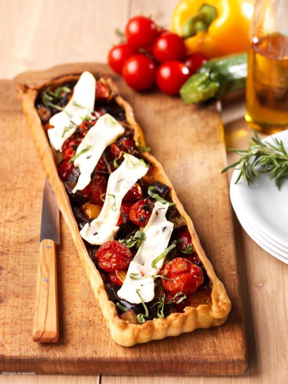 Tarte fine legumes du soleil rôtis au Chevrotin Savoie@Image&Associés