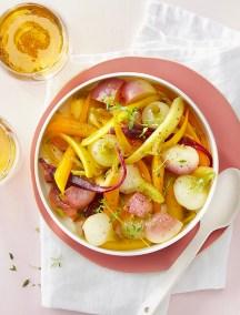 Légumes de saison glacés au cidre brut