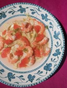 Salade de Fenouil pamplemousse et crevettes roses Marie Hélène