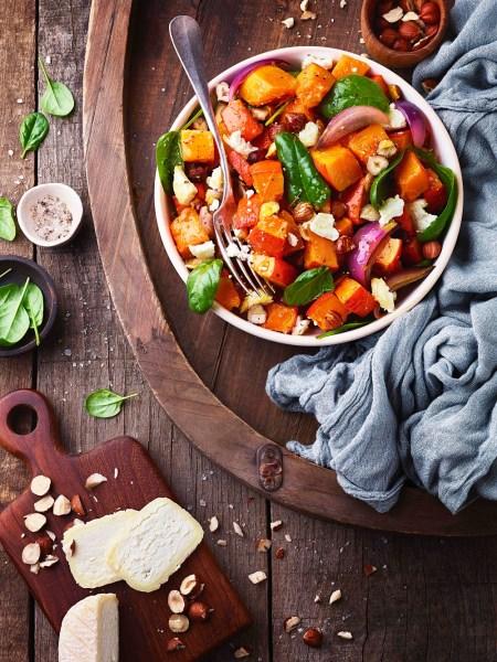 Salade de Potimarron et fromage de chèvre , ambiance chaud froid