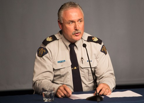 Sgt. Peter Thiessen spoke on behalf of the RCMP at the press conference. Photo Carter Brundage/The Ubyssey