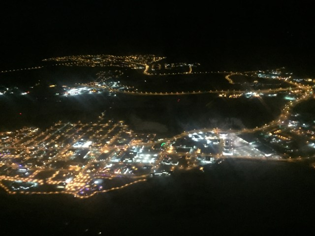 The lights of Whitehorse at 8:30 am as the airplane took off for Inuvik.