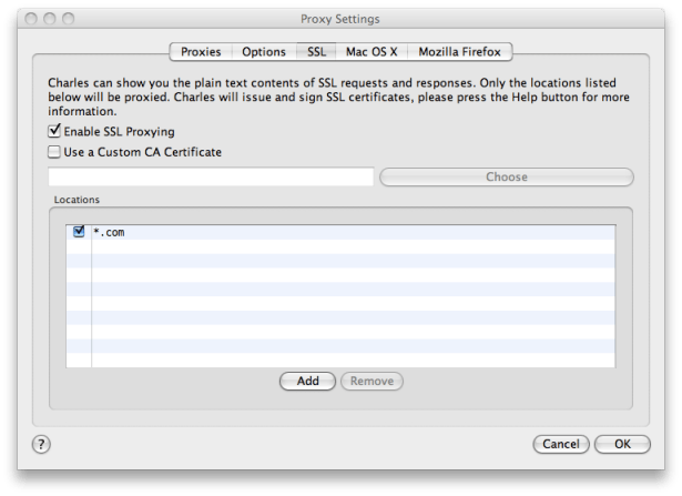 Charles SSL Certificates Configuration