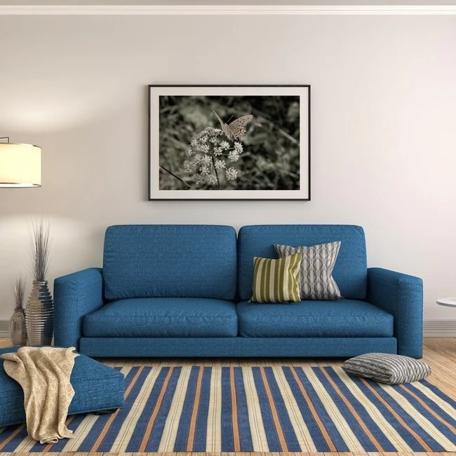 Blue and grey living room for Black white and blue living room ideas