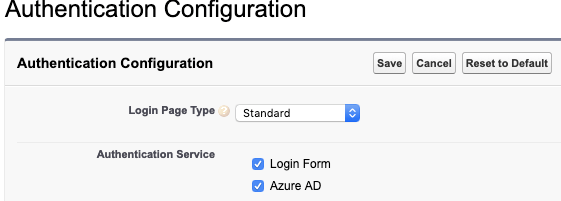 authentic configuration screen