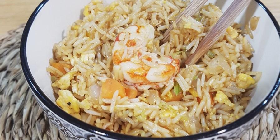 arroz con gambas estilo thai receta fácil y rápida