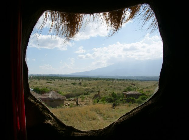 Uitizcht over Maasai land vanuit de Maasai Lodge