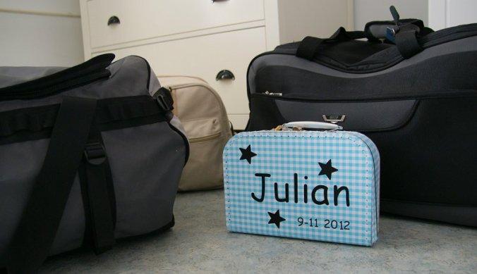 Julian's koffer mee op reis