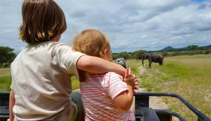 Julian en Lisan bovenop de safariauto