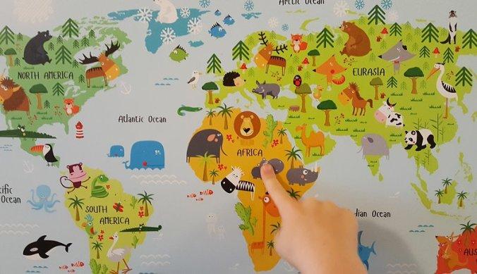 Afrika op de wereldkaart voor kinderen