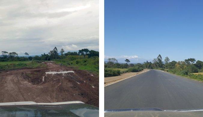 Murram weg naar Usa river en de nieuwe asfaltweg