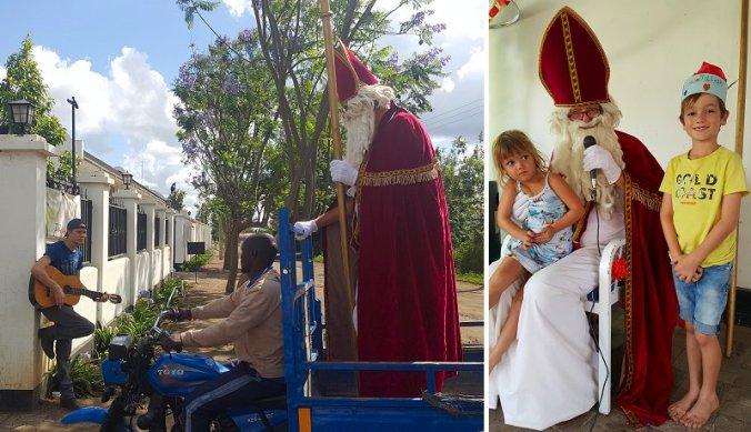 Sinterklaas in Arusha op de tuktuk