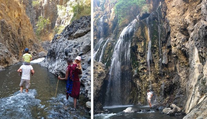 Wandeling door de Engare Sero rivier en naar waterval