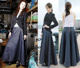 Rok panjang denim