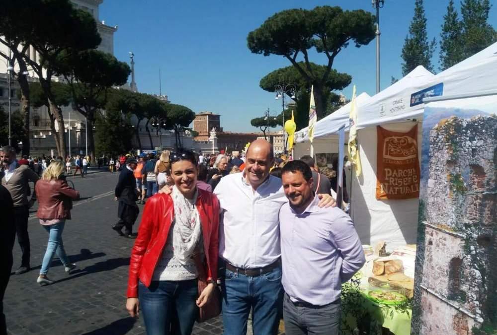 Festa dei Piccoli Comuni, Zingaretti visita lo stand di Canale Monterano