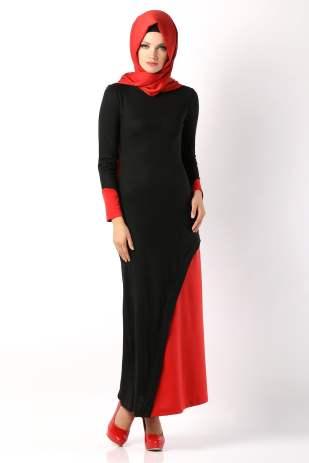 Tozlu Giyim kapüşonlu kırmızı-siyah elbise-35 TL
