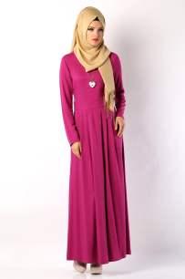 Tozlu Giyim mor cepli uzun elbise-60 TL
