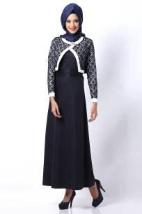 Tozlu giyim mini ceketli lacivert tesettür elbise-100 TL