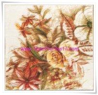 Armine 2015 yeni sezon karakalem figürlü çiçekli eşarp-5294