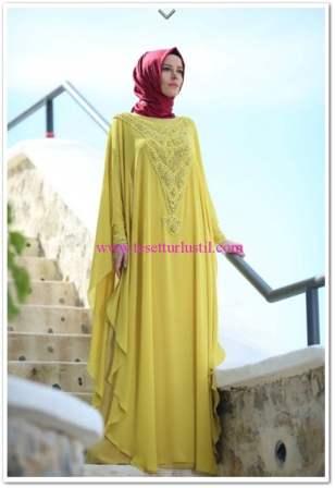 Setrms 2015 limon sarısı şifon abiye elbise