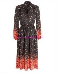4c8b684930516 Debenhams-2015-16-Sonbahar-Kış-turuncu çiçek desenli siyah elbise