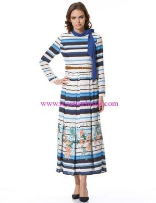 Kayra-marin desen elbise lacivert