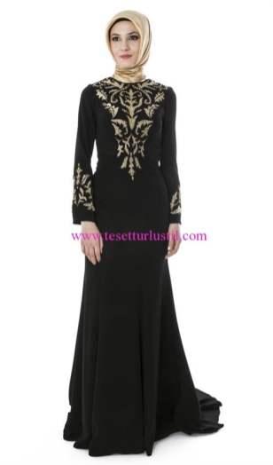 setrms gold işlemeli siyah abiye elbise