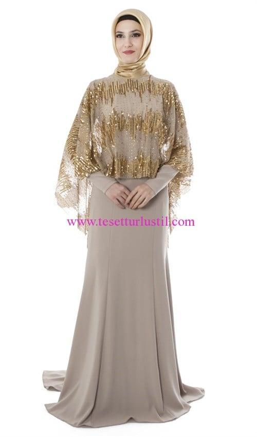 88d1de5f1758d setrms tül pelerinli bej abiye elbise | Tesettürlü Giyim Stilleri