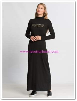 lc waikiki yazı baskılı siyah uzun spor elbise