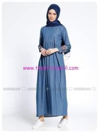nakış işlemeli kot-elbise-mavi-tuncay