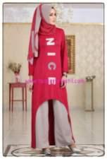 tofisa bordo penye tunik pantolon şal kombini-120 TL