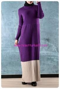 pileli-iki-renk-triko-elbise-mor-kiraz giyim-80 TL