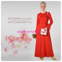 alvina 2018 yeni sezon kırmızı elbise