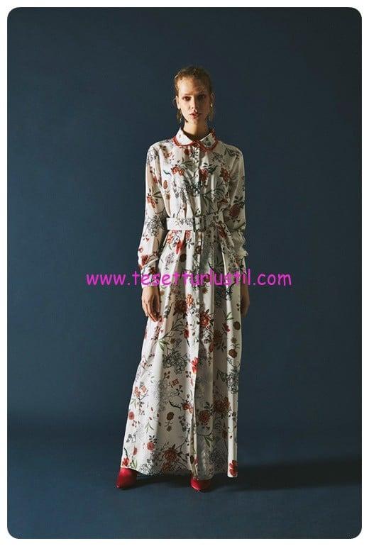 latifa uzun desenli lauren ekru elbise-359 TL