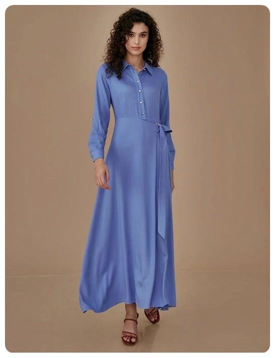 havaci-mavi-kusakli-uzun-elbise