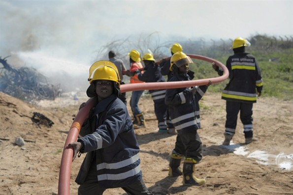 Firefighters fighting to extinguish the blaze