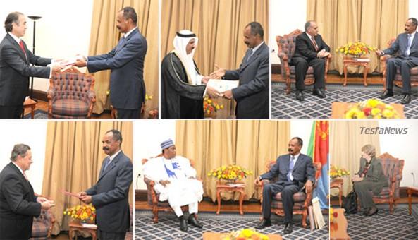 Ceremony. President Isaias Afwerki receiving credentials of six Ambassadors