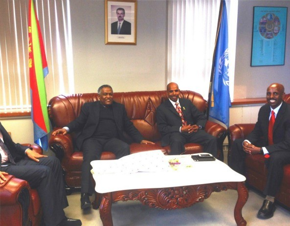 Meb Kifleghi accompanied by his brother and Manager Merhawi Kiflezgi paid visit o the Eritrean mission to the UN