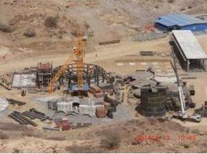 Zara Mine: 800 cubic meters thick pool, adsorption columns, thickener, ball mill foundation, leach tank