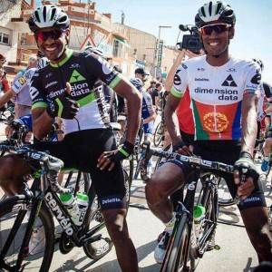 Eritrean riders Mekseb Debessay and Daniel Teklehaimanot.