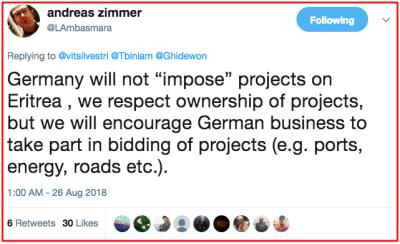 German's Ambassador to Eritrea, Andrea Zimmer