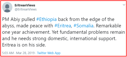 Eritrea to stand by Abiy side