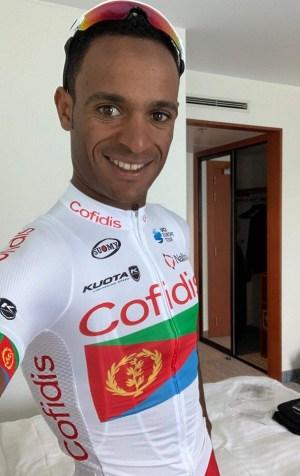 Natnael Berhane with a customized Eritrean flag shirt for Tour de France 2019