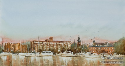 New Bern NC Morning. Plein Air Watercolor on paper. 12x21.