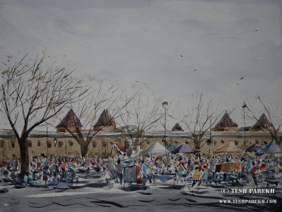 Sunday Antique Market at NC State Fairgrounds. 12x16. Watercolor on paper.