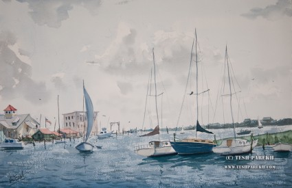 Southport. Watercolor painting on paper.