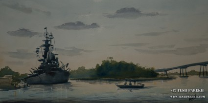 USS North Carolina. Plein Air. Watercolor on paper.
