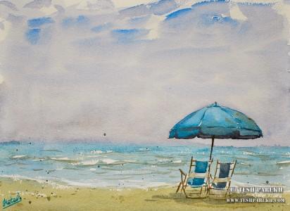 myrtle-beach-sc-plein-air-beach-painting-watercolor-1-tesh-parekh