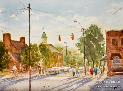 plein-air-watercolor-chapel-hill-franklin-street